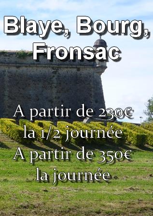 Prix du transport vers Blaye, Bourg, Fronsac